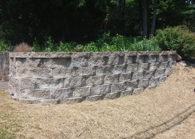 rebuilt refurbished retaining wall